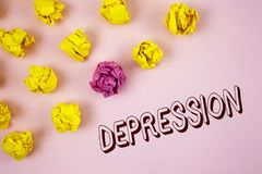 Text sign showing Depression. Conceptual photo Work stress with sleepless nights having anxiety disorder written on plain Pink bac. Text sign showing Depression royalty free stock images