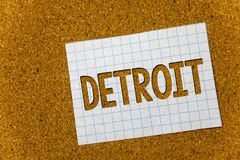 Text sign showing Detroit. Conceptual photo City in the United States of America Capital of Michigan Motown Cork background notebo. Ok paper ideas messages Stock Photography