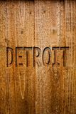 Text sign showing Detroit. Conceptual photo City in the United States of America Capital of Michigan Motown Ideas messages wooden. Background intentions Stock Photography