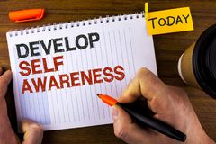 Text sign showing Develop Self Awareness. Conceptual photo improve your Informations about surrounding events written by Man on No. Text sign showing Develop royalty free stock image