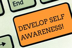 Text sign showing Develop Self Awareness. Conceptual photo What you think you become motivate and grow Keyboard key. Text sign showing Develop Self Awareness royalty free stock photography