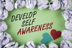 Text sign showing Develop Self Awareness. Conceptual photo What you think you become motivate and grow written on plain green back. Text sign showing Develop royalty free stock photos