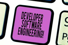Text sign showing Developer Software Engineering. Conceptual photo Forming software base on engineering standard Keyboard key. Intention to create computer royalty free stock photos