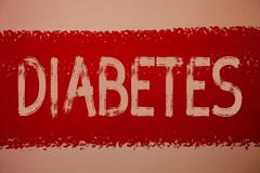 Text sign showing Diabetes. Conceptual photo Chronic disease associated to high levels of sugar glucose in blood Ideas messages re. D paint painting light brown royalty free stock images