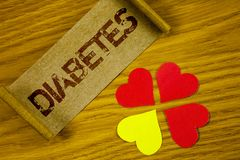Text sign showing Diabetes. Conceptual photo Medical condition diagnosed with increased high level sugar written on Folded Cardboa. Text sign showing Diabetes Stock Photography