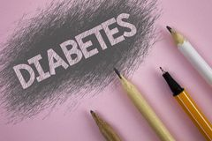 Text sign showing Diabetes. Conceptual photo Medical condition diagnosed with increased high level sugar written on Pink backgroun. Text sign showing Diabetes Royalty Free Stock Photo