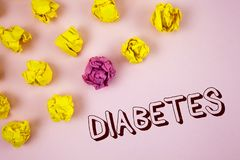 Text sign showing Diabetes. Conceptual photo Medical condition diagnosed with increased high level sugar written on plain Pink bac. Text sign showing Diabetes Stock Photography
