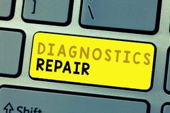 Text sign showing Diagnostics Repair. Conceptual photo A program or routine that helps a user to identify errors.  royalty free stock photo
