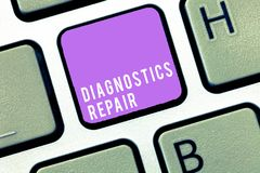 Text sign showing Diagnostics Repair. Conceptual photo A program or routine that helps a user to identify errors.  stock images