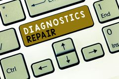 Text sign showing Diagnostics Repair. Conceptual photo A program or routine that helps a user to identify errors.  stock photography