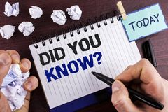 Text sign showing Did You Know Question. Conceptual photo asking about facts of informations Trivia Competition written by Man on. Text sign showing Did You Know Stock Photo