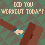 Text sign showing Did You Workout Today. Conceptual photo asking if made session physical exercise Rushing Businessman royalty free illustration