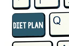 Text sign showing Diet Plan. Conceptual photo Use of specific intake of nutrition for health analysisagement reasons stock photo