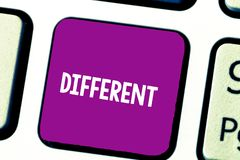 Text sign showing Different. Conceptual photo not the same as another or each other unlike in nature form Keyboard key. Intention to create computer message royalty free stock images