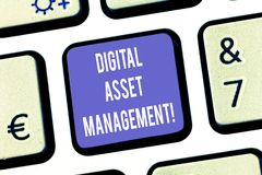 Text sign showing Digital Asset Management. Conceptual photo Business processes for analysisaging digital accounts Keyboard key. Intention to create computer stock image