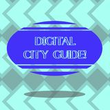 Text sign showing Digital City Guide. Conceptual photo app which provides assistance information on cultural Blank Color. Oval Shape with Horizontal Stripe stock illustration