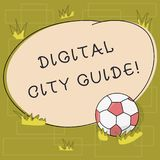 Text sign showing Digital City Guide. Conceptual photo app which provides assistance information on cultural Soccer Ball. On the Grass and Blank Outlined Round stock illustration