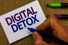 Text sign showing Digital Detox. Conceptual photo Free of Electronic Devices Disconnect to Reconnect Unplugged Man hand holding ma. Rker white paper royalty free stock images