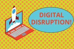 Text sign showing Digital Disruption. Conceptual photo Changes that affect technology markets Product makeover Rocket stock illustration