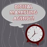 Text sign showing Digital Marketing Agency. Conceptual photo Helps business engage with exact target audiences Blank Color Thought. Speech Bubble with Outline vector illustration