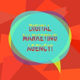 Text sign showing Digital Marketing Agency. Conceptual photo Helps business engage with exact target audiences Blank Speech Bubble. Photo and Stack of royalty free illustration