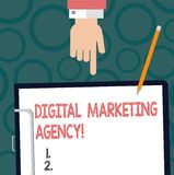 Text sign showing Digital Marketing Agency. Conceptual photo Helps business engage with exact target audiences Hu analysis Hand. Pointing Down to Clipboard with stock illustration