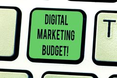Text sign showing Digital Marketing Budget. Conceptual photo Cost that will be required to promote products Keyboard key Intention royalty free stock photos