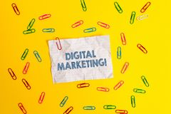 Text sign showing Digital Marketing. Conceptual photo Search Engine Optimazation Pay Per Click Ad Internet Blank crushed. Text sign showing Digital Marketing royalty free stock images