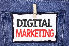 Text sign showing Digital Marketing. Conceptual photo Strategy of products services digital technologies online written on White S. Text sign showing Digital stock photos