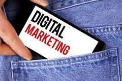 Text sign showing Digital Marketing. Conceptual photo Strategy of products services digital technologies online written on Mobile. Text sign showing Digital Royalty Free Stock Photo