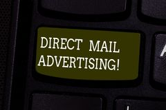 Text sign showing Direct Mail Advertising. Conceptual photo deliver marketing material to client of postal mail Keyboard stock illustration