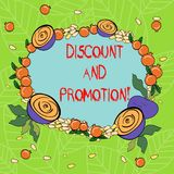 Text sign showing Discount And Promotion. Conceptual photo reductions to a basic price of goods or services Floral. Wreath made of Tiny Seeds Small Glossy royalty free illustration