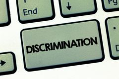 Text sign showing Discrimination. Conceptual photo Prejudicial treatment of different categories of showing stock images