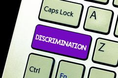 Text sign showing Discrimination. Conceptual photo Prejudicial treatment of different categories of showing.  stock photo
