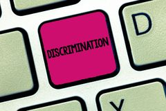 Text sign showing Discrimination. Conceptual photo Prejudicial treatment of different categories of showing.  royalty free stock images