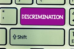 Text sign showing Discrimination. Conceptual photo Prejudicial treatment of different categories of showing.  royalty free stock photography