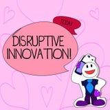 Text sign showing Disruptive Innovation. Conceptual photo displacing established marketleading firms or product Smiley. Text sign showing Disruptive Innovation vector illustration