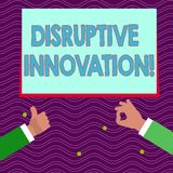 Text sign showing Disruptive Innovation. Conceptual photo displacing established marketleading firms or product Two. Text sign showing Disruptive Innovation vector illustration