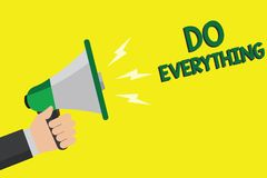 Text sign showing Do Everything. Conceptual photo Jack of All Trades Self Esteem Ego Pride No Limits Man holding megaphone loudspe. Aker yellow background vector illustration