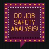Text sign showing Do Job Safety Analysis. Conceptual photo Business company security analytics control Square Speech Bubbles stock photography