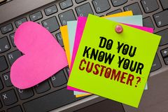 Text sign showing Do You Know Your Customer question. Conceptual photo Have into account client likes opinion Bright colorful writ. Ten papers pinch by pin pink royalty free stock images