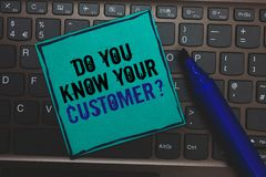 Text sign showing Do You Know Your Customer question. Conceptual photo Have into account client likes opinion Huge button with com. Puter keyboard black lined royalty free stock images