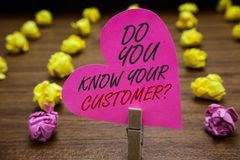 Text sign showing Do You Know Your Customer question. Conceptual photo Have into account client likes opinion Paperclip hold pink. Heart with text blurry paper stock image
