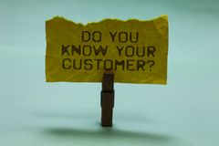 Text sign showing Do You Know Your Customer question. Conceptual photo Have into account client likes opinion Paperclip hold torn. Yellow page written brown royalty free stock photo