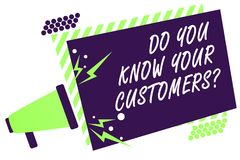 Text sign showing Do You Know Your Customers question. Conceptual photo having a great background about clients Megaphone loudspea royalty free illustration