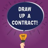 Text sign showing Draw Up A Contract. Conceptual photo Write a business agreement cooperation legal papers Blank Oval. Color Speech Bubble Above a Broken Bulb stock illustration