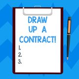 Text sign showing Draw Up A Contract. Conceptual photo Write a business agreement cooperation legal papers Blank Sheet. Of Bond Paper on Clipboard with Click vector illustration