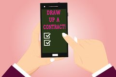 Text sign showing Draw Up A Contract. Conceptual photo Write a business agreement cooperation legal papers Hu analysis. Hands Holding Pointing Touching vector illustration