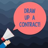 Text sign showing Draw Up A Contract. Conceptual photo Write a business agreement cooperation legal papers Hu analysis. Hand Holding Megaphone Blank Round Color vector illustration