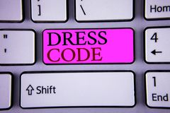 Text sign showing Dress Code. Conceptual photos Rules of what you can wear and not to school or an event. Text sign showing Dress Code. Conceptual photo Rules of stock photo